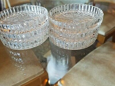 6 Hocking Glass Clear Queen Mary Coasters