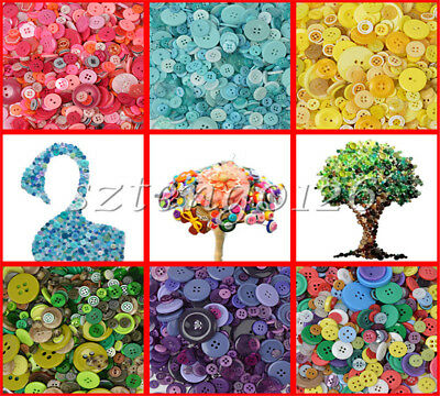 100/600Pcs 4-hole Round Resin Flat Buttons Mixed Decoration Sewing Craft Colours