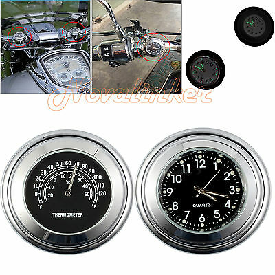 Universal Motorcycle 7/8'' Handlebar Mount Dial Clock Watch Thermometer Gauge AU