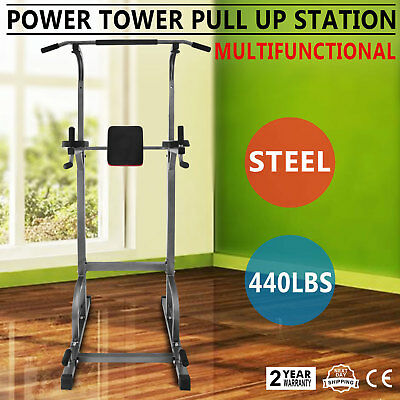 Multi-Function Power Tower Dip Station Adjustable Height Folding Power Tower