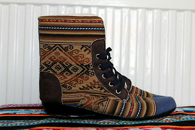 Tribal ethnic pattern canvas Kanchacharirca ladies shoes size UK 6.5 EU 40