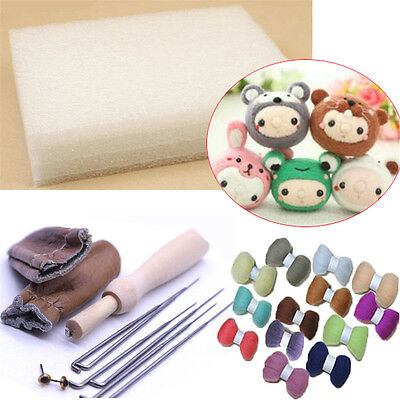 20 Colour DIY Wool Needles Felt Tool Set + Needle Felting Mat Starter Kit