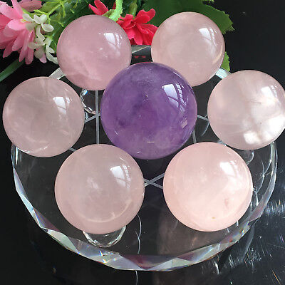 29mm Seven Star Array Natural amethyst&rose quartz Crystal Ball with Glass Plate