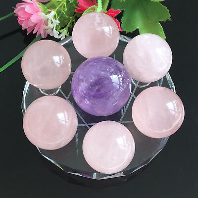 30mm Seven Star Array Natural amethyst&rose quartz Crystal Ball with Glass Plate