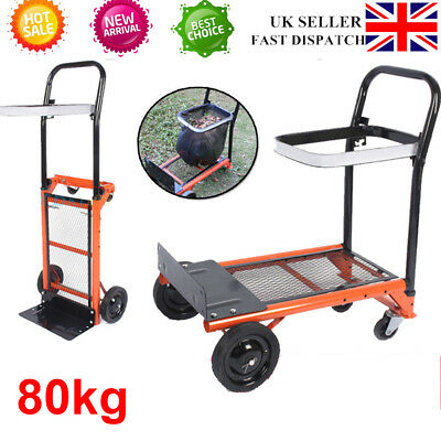 80KG Folding Truck Hand Sack Trolley Barrow Cart Platform Adjustable 78-103CM UK