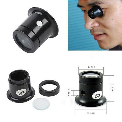 New Watch Eyes Loupe 5X 10X Jeweller Optical Glass Magnifier Magnifying Len Tool