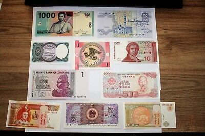 10 World Banknotes. Starter Pack. All different. Uncirculated. *World10.7*