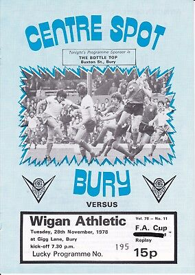 Bury v Wigan Athletic FA Cup 1st Round Replay 1978/79