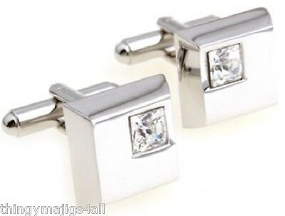 Clear Stone Diamante Silver Square Cufflinks Shirt Cuff Links Wedding Party