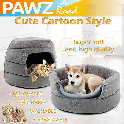 Pet Dog Cat Bed Small Medium Puppy Dog Kennel 2 in 1 Washable Cushion Mat House