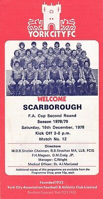 York City v Scarborough FA Cup 2nd Round 1978/79