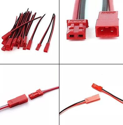 5 Pairs JST 2P 2-Pin Male/Female Connector Plug Lead Cable Wire 10cm
