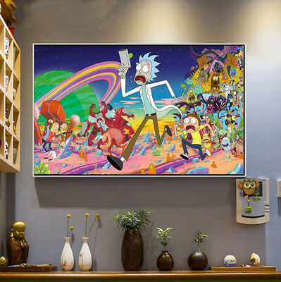 Rick and Morty Cartoon Silk Poster Print 16x24 inch All Characters Art Poters