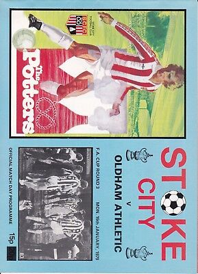Stoke City v Oldham Athletic FA Cup 3rd Round 1978/79