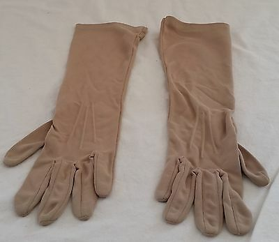 Vintage circa 1960s BEIGE Collins NSW Nylon Long Mid Length Gloves size 7