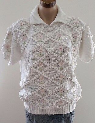 Vintage 1980s Rob Paynter WHITE PINK Bubble Knot Knitted Cotton Jumper size S
