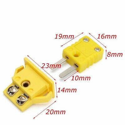K Type Panel Mount Thermocouple Socket & Plug Connector Set Plastic Shell Yellow