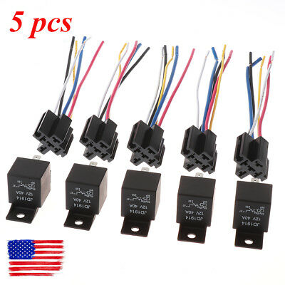 5Pcs DC 12V Automotive Car SPDT Relay 5 Pin 5 Wires Harness/w Socket 30/40 Amp