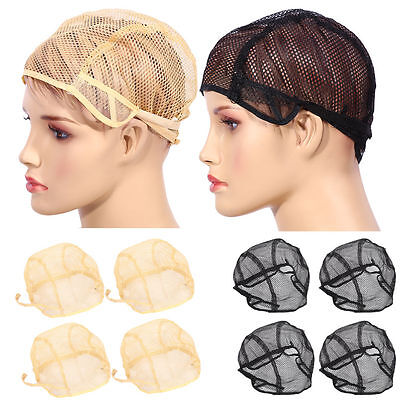 10x Wig Caps Mesh Net With Adjustable Stretch Lace Straps For Making Wig