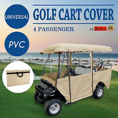 4 Passenger Golf Cart Cover Driving Enclosure Best Visibility PVC Secure Hook