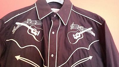 Vintage Fancy Embroidered Cowboy Shirt with Guitars, Music Notes & Pearl Buttons