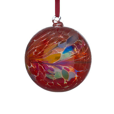 Glass Friendship or Witches Ball, 10cm Red With Iridescent Finish By Sienna