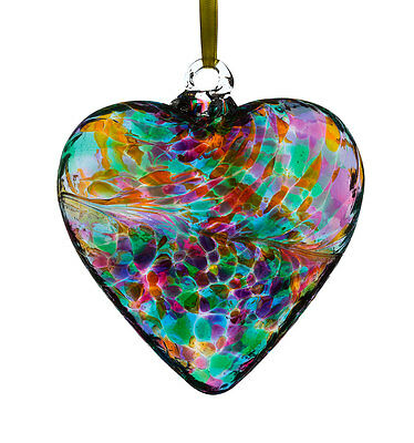 Glass Friendship Heart, 12cm Multi Coloured Turquoise By Sienna Glass