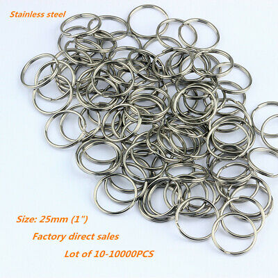 "Stainless Steel 25mm 1"" Key Rings Key Chains 1 inch Split Rings 10 100 1000pcs"