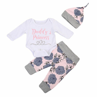 AU Newborn Baby Girl Long Sleeve Tops Romper Pants Hat Outfits Clothes 4PCS Set