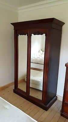Antique Mahogany Mirrored Wardrobe