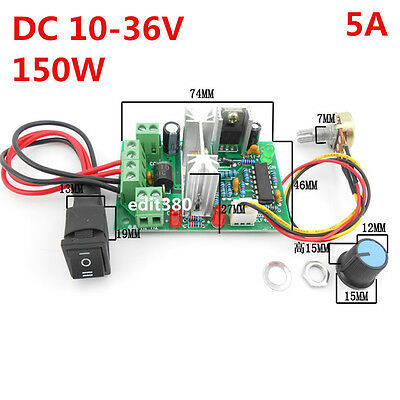 5A 12V 24V  DC Motor Variable Speed Controller Reversible PWM Drive Control
