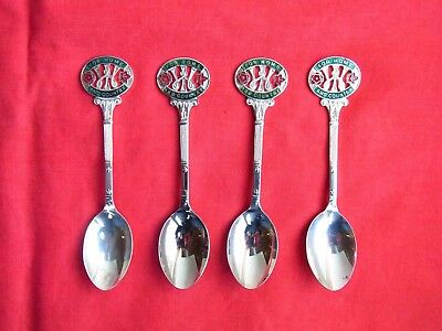 """A SET of 4 SILVER PLATE TEA SPOONS: """"FOR HOME AND COUNTRY"""" WI WOMENS INSTITUTE"""