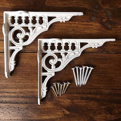 "Pair White 6"" x 5"" ANTIQUE CAST IRON VICTORIAN SHELF WALL BRACKETS - BR12wX2"