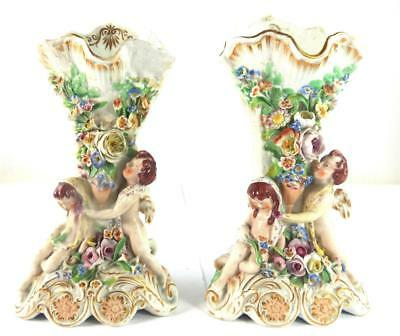 Pair Antique 19Th Century Staffordshire Pottery Spill Vase Cherub Flowers