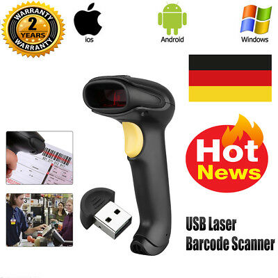 Handheld USB Laser Barcode Scanner Lesegerät Auto Code Reader IOS Android Window