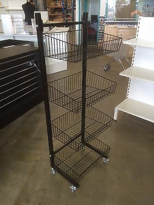 Wire Four Tier Basket Stand For Shop Retail Brand New Black