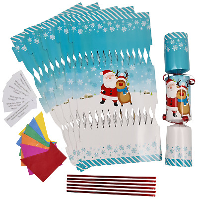 make your own christmas cracker kits / makes 6 crackers hats snaps jokes  KIDS