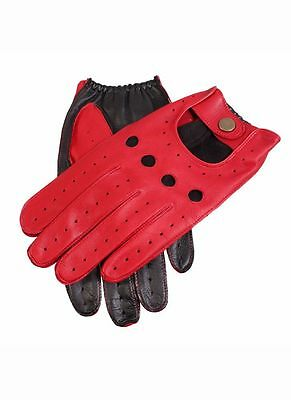 Mens Dents Leather Two Tone Black/Red Driving Gloves Unlined 5-1021