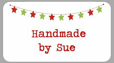 65 x Personalised Mini Stickers Christmas Stars Bunting Labels
