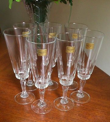 7 LUMINARC FRANCE EXC LABELS VTGE VERRERIE D'ARQUES 5oz CHAMPAGNE FLUTE GLASSES