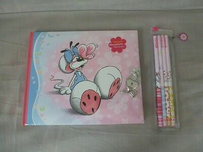 Peluche Diddl Journal intime cadena + Stylos crayons NEUF Emballé  TBE