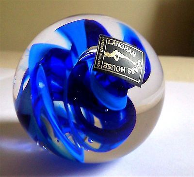 Langham-Glass House Studio-Glass Cobalt Blue Swirl Pattern And Clear Paperweight