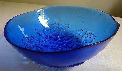"FRENCH STYLE EXC! LARGE 4-PT 10"" D x 3.5"" H COBALT BLUE FRUIT INTAGLIO  BOWL"