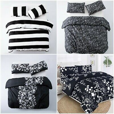 3 Piece Luxury Black Duvet Cover Quilt Cover Bedding Set + Pillow Shams Pintuck