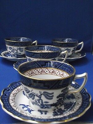 Booths Real Old Willow A8025 Blue White Pottery 4 Cup Saucer Coffee or Tea Cups