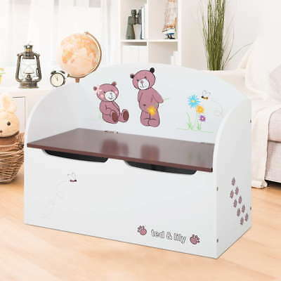 Kids Toy Box Storage Seat Chest Cabinet Children Bedroom Toys Organiser White