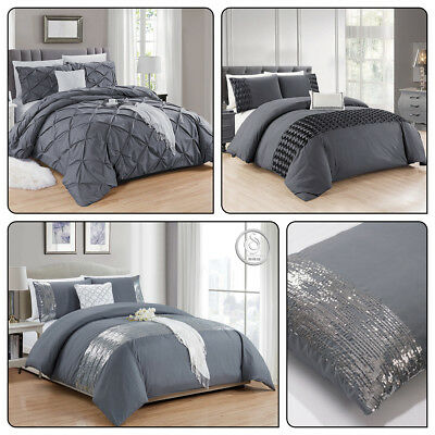 Duvet Cover New Quilted set Hand made Duvet Set Gray Luxury Quilted Cover 3 Size