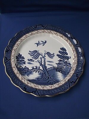 Booths England Real Old Willow A8025 Blue White Pottery Large Plate Gold Gilt