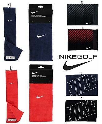 New NIKE GOLF Tri Fold Towel Face/Club - Plain/Graphic/Jacquard - Black/Navy/Red