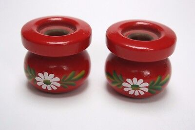 Vintage Pair of Made in Sweden Red Wooden Candle Holders Folk Art Christmas